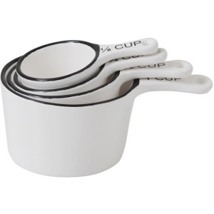 Stoneware Measuring Cups - White w/ Black Rim
