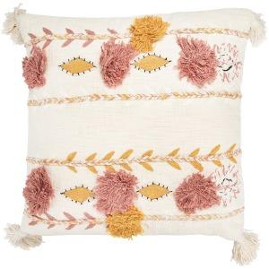 "20"" Square Cotton Embroidered Pillow w/ Tassels & Applique - Cream Color"