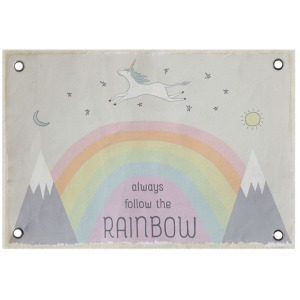 "Canvas Wall Decor w/ Rainbow & Grommets ""Always Follow the Rainbow"""