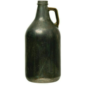 """11""""H Glass Bottle with Handle, Pewter Finish"""