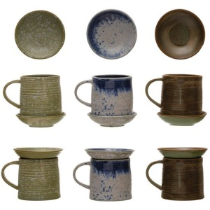 12 oz. Stoneware Mug with Snack Plate Topper