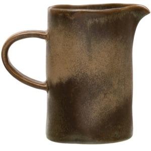 Stoneware Creamer, Reactive Glaze, Blue/Brown