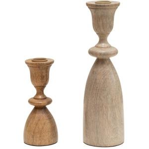 Mango Wood Taper Holders, Set of 2