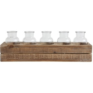 "17""L Wood Crate w/ 5 Glass Bottles, Set of 6"