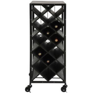 Metal & Wood Wine Bottle Rack On Casters Black Holds 15 Wine Bottles