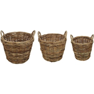 "25"" 20-1/2"" & Rattan Baskets w/ Handles Set of 3"