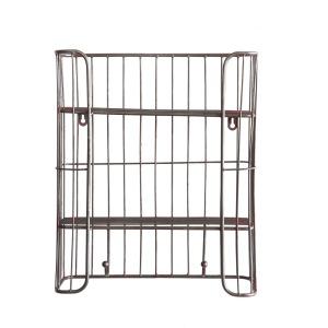 Metal Wire Shelf w/ 2 Shelves & 2 Hooks Distressed Silver Finish