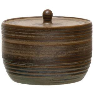 Stoneware Sugar Pot with Lid, Reactive Glaze, Blue/Brown