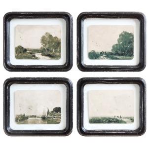 Wood Framed Wall Decor w/ Floating Antiqued Landscape, 4 Styles