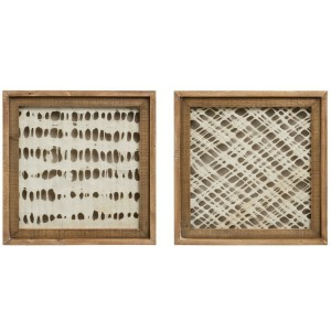 Square Wood Framed Handmade Paper Wall Decor - 2 Styles