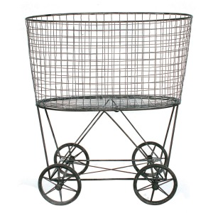 Reproduction of Vintage Laundry Basket On Wheels