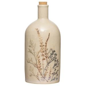 Stoneware Debossed Floral Bottle w/ Cork Stopper -Reactive Crackle Glaze