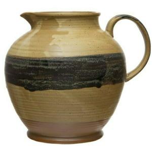 64 oz. Stoneware Pitcher, Reactive Glaze, Brown & Black