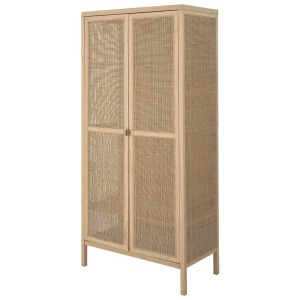 Woven Rattan & Wood Cabinet