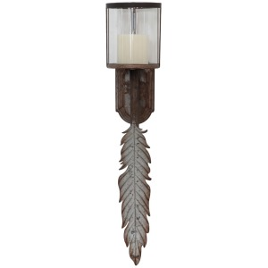 Glass & Metal Wall Sconce w/ Leaf Distressed Zinc Finish