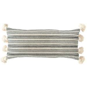 "Cotton & Chenille Woven Striped Lumbar Pillow w/Tassels - Black 36""L x 16""H"