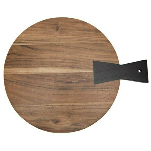 Two-Tone Acacia Wood Cheese/Cutting Board with Black Tail Joint Handle