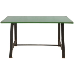 Metal & MDF Table w/ Distressed Green Table Top & Distressed Rust Legs KD