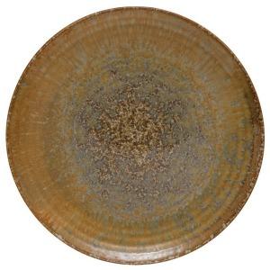 Round Stoneware Plate, Reactive Glaze, Mustard Color