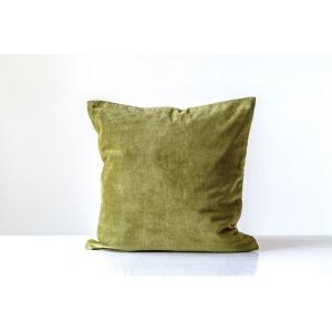 """20"""" Square Cotton Velvet Pillow, Green"""