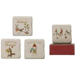 Square Resin Coasters in Wood Box w/ Animals, Set of 5