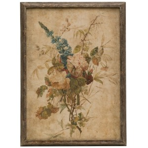 "17.5""W x 24.5""H Wood Framed Wall Decor w/Vintage Reproduction Flower Print"