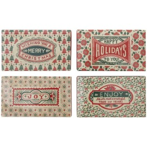 Matchbox w/ Safety Matches w/ Holiday Saying, 4 Styles