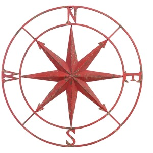Metal Compass Wall Dcor Distressed Red