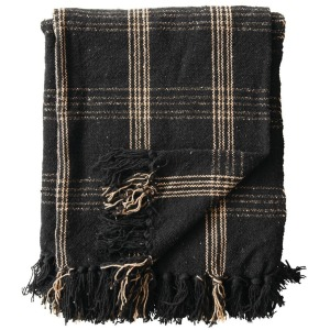 Woven Cotton Blend Throw with Fringe - Black & Tan Plaid