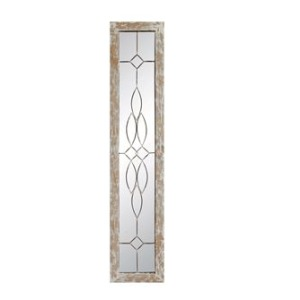 Wood Framed Mirror w/ Metal Accents, Distressed White Finish