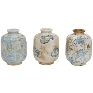Terra Cotta Vase w/ Transferware Pattern Blue/White 3 Styles
