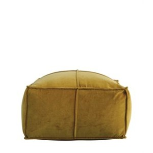 Square Cotton Velvet Pouf, Goldenrod