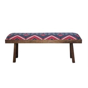 Mango Wood & Woven Fabric Bench, Navy & Red