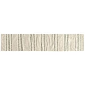 Woven Cotton Stripe Table Runner - Black & Cream