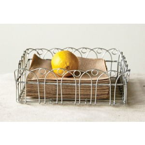 Hand-Made Metal Wire Basket Galvanized Finish