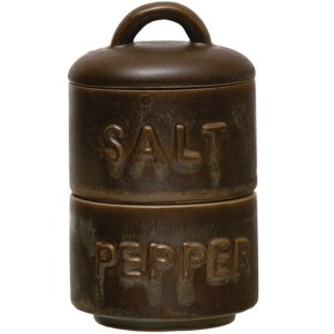 Stoneware Stackable Salt & Pepper Pots with Lid
