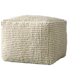 New Zealand Wool & Cotton Pouf, Natural