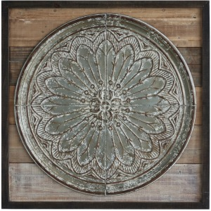 Wood & Embossed Tin Wall Dcor