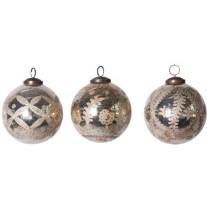 """4"""" Round Etched Mercury Glass Ball Ornament, Antique Silver, 3 Styles"""