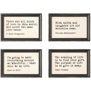 Wood Framed Wall Dcor w/ Saying 4 Styles