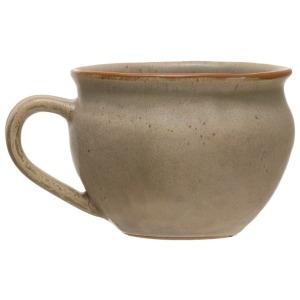 Stoneware Mug, Reactive Glaze, Matte Grey
