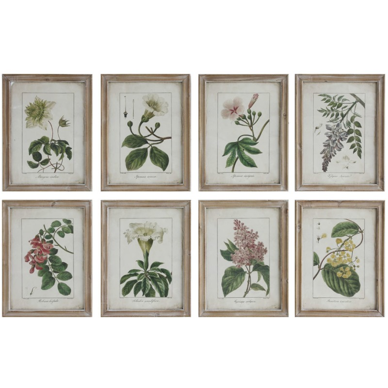 Wood Framed Wall Dcor w/ Vintage Floral Image 8 Styles