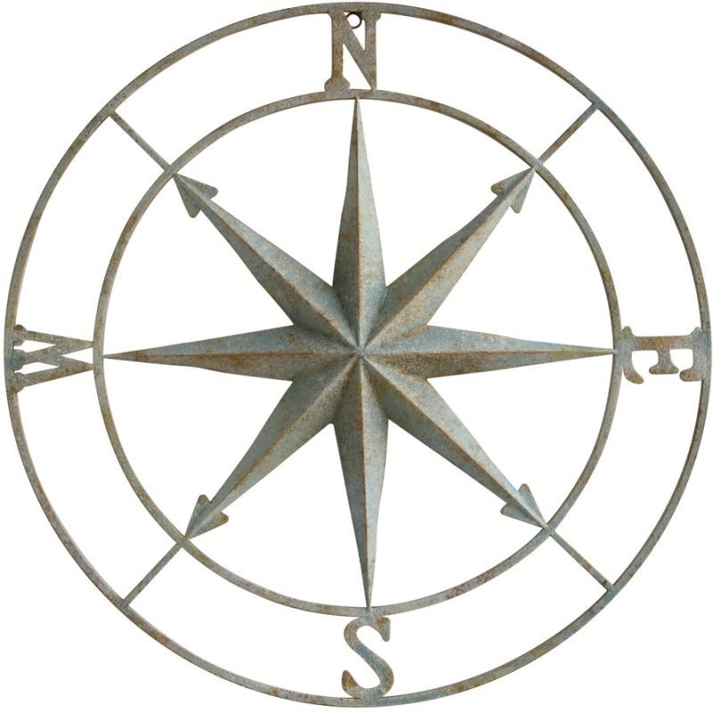 Metal Compass Wall Dcor Distressed Aqua