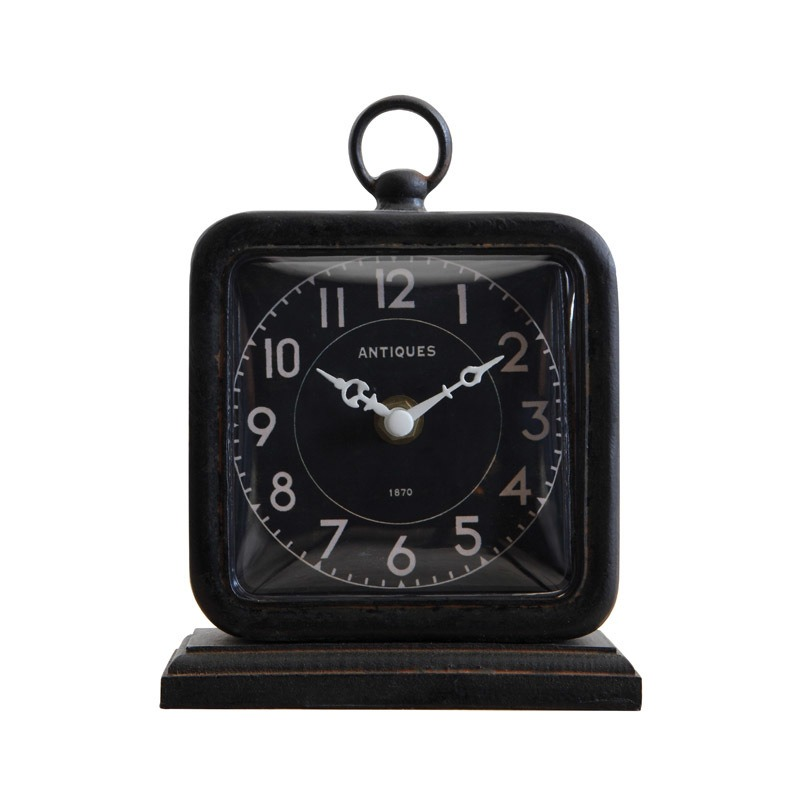 Pewter Table Clock Black Requires 1AA Battery