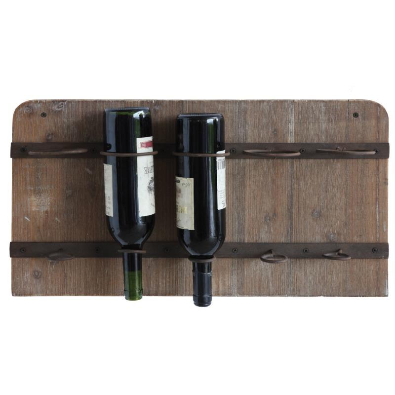 Wood & Metal Wall Wine Rack Holds 5 Wine Bottles