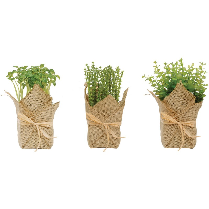 Burlap Wrapped Artificial Potted Herb 3 Styles