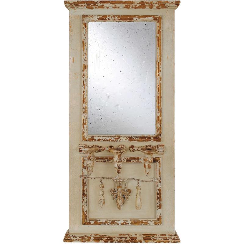 Wood Framed Antique Mirror w/ 3 Taper Holders