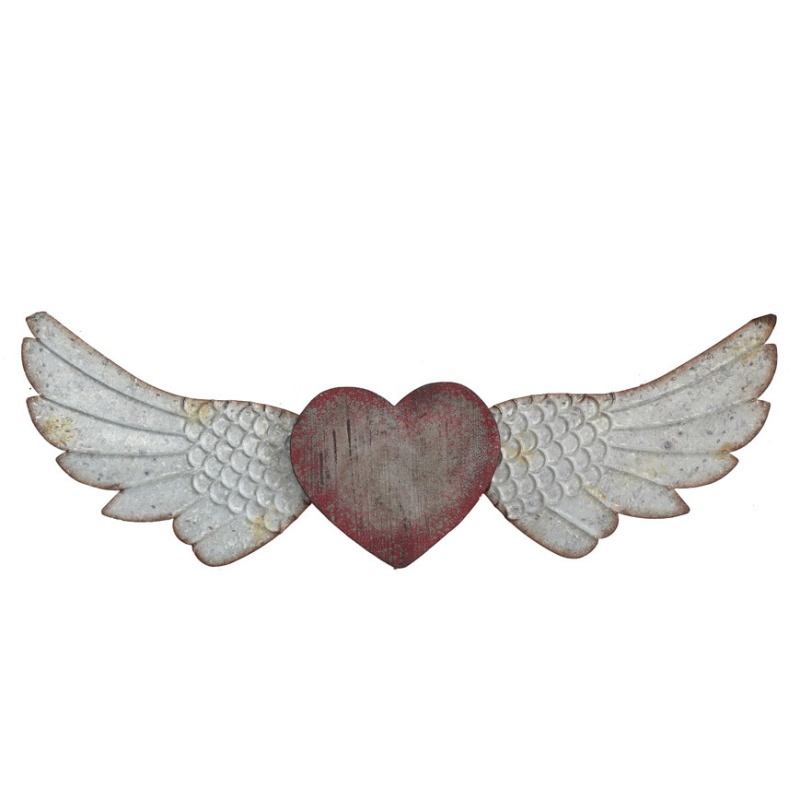 Wood & Metal Heart & Wings Wall Dcor