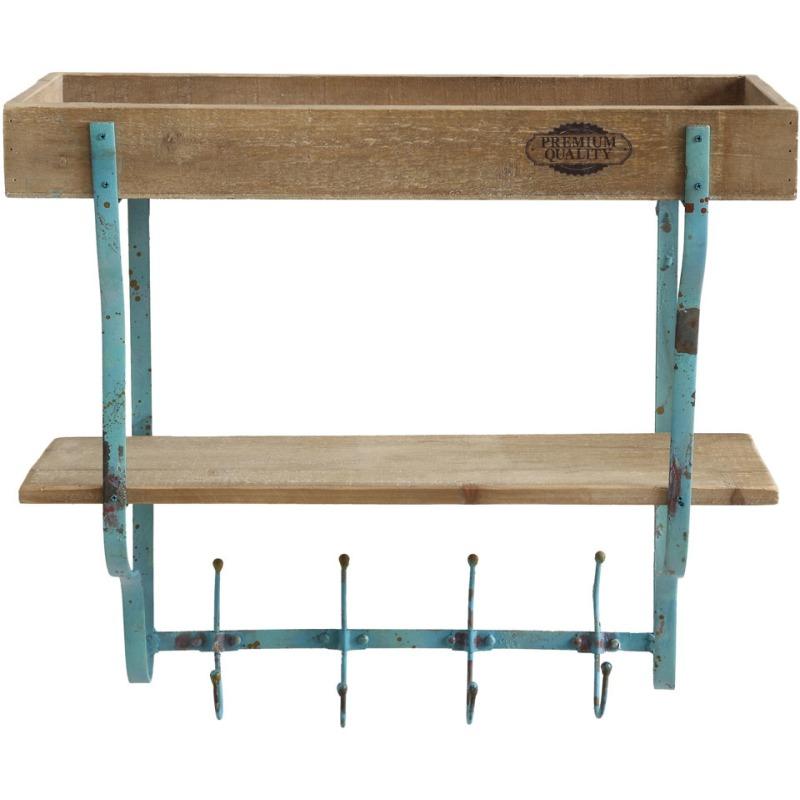 Wood & Metal Wall Rack w/ 2 Shelves & 4 Hooks