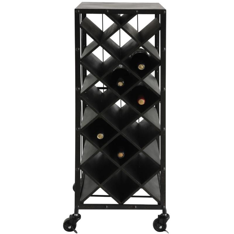 Metal & Wood Wine Bottle Rack On Casters Black Holds 15 Wine Bottles